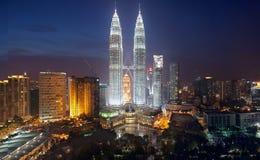 Petronas Twin Towers. The Petronas Twin Towers in Kuala Lumpur, Malaysia, in the night stock photo