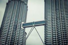 Petronas Twin Towers in Kuala Lumpur. Modern skyscraper architecture. Floors details. Stock Photography
