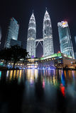 Petronas Twin Towers with Musical fountain at Kuala Lumpur, Malaysia Stock Photography