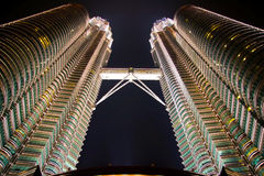 Petronas twin towers at night Stock Image