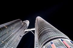Petronas twin towers at night Stock Images