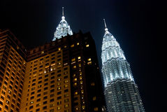 Petronas twin towers in the night Stock Images