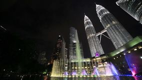 Petronas Twin Towers at Night, Kuala Lumpur stock video