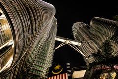 Petronas Twin Towers. At night in Kuala Lumpur, Malaysia royalty free stock photography