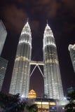 Petronas Twin Towers at night, Kuala, Lumpur Stock Images
