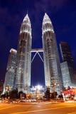 Petronas Twin Towers at night in Kuala Lumpur Stock Image
