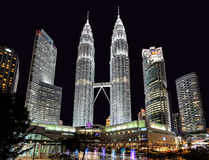 The Petronas Twin Towers at night. Royalty Free Stock Image