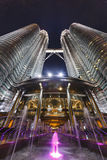 Petronas Twin Towers at Night, Kuala Lumpur Stock Photo