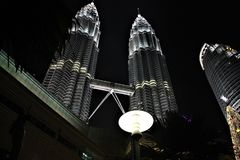 The Petronas Twin Towers at night, tallest twin towers in the world at Kuala Lumpur Malaysia royalty free stock images