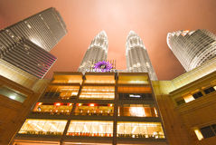 Petronas twin towers night view. Ones the world's tallest, these 88-storey towers bear a modern Islamic design Royalty Free Stock Photo
