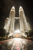 Petronas twin towers. Once the world`s tallest, these 88-story towers bear a modern Islamic design Royalty Free Stock Photo