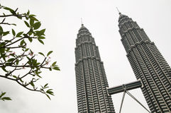 PETRONAS Twin Towers  under a cloudy sky Stock Photography