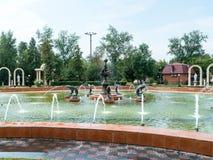 Petropavl Kasakhstan - Augusti 11, 2016: Musikalisk springbrunn Dolphi Arkivbilder