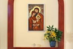 PETROPAVL KAZACHSTAN, LIPIEC, - 24, 2015: Wnętrze kościół rzymsko-katolicki Święty serce Jezus w Petropavl Obraz Stock
