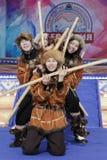 Performance of Kamchatka State Academic Koryak National Dance Ensemble Mengo. PETROPAVLOVSK CITY, KAMCHATKA PENINSULA, RUSSIA - MAR 1, 2018: Incendiary dance of Royalty Free Stock Image