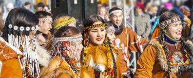 The holiday aboriginal Koryak in Kamchatka was Hololo. PETROPAVLOVSK, KAMCHATKA, RUSSIA - NOVEMBER 4, 2018: Folk ensemble performance in dress of indigenous royalty free stock photography