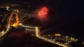 Fireworks celebration Victory Day in Great Patriotic War May 9. Petropavlovsk Kamchatsky City, Kamchatka Peninsula, Russia - May 9, 2018: Salute celebration