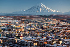 Petropavlovsk-Kamchatsky cityscape and Koryaksky volcano Stock Photos