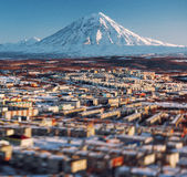 Petropavlovsk-Kamchatsky cityscape and Koryaksky volcano Royalty Free Stock Image