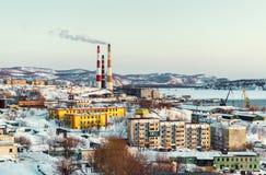 Petropavlovsk-Kamchatsky cityscape, power plant ans seaport Royalty Free Stock Photos