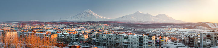 Petropavlovsk-Kamchatsky cityscape. Sunrise over Koryaksky and A Royalty Free Stock Images