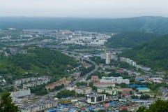 Petropavlovsk-Kamchatsky Far East, Ryssland. Staden landskap Arkivbilder