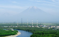 Petropavlovsk-Kamchatsky and Koryaksky vol Royalty Free Stock Photography