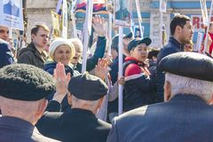 PETROPAVLOVSK MAY 9, 2018: residents in memorable procession. `An immortal regiment`, on May 9, 2018 . Kazakhstan Petropavlovs royalty free stock photography