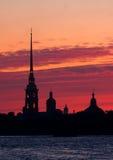 Petropavlovskaya fortress. In St. Petersburg at night Royalty Free Stock Photo