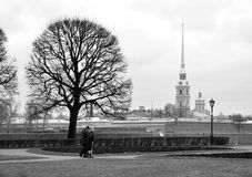Petropavlovskaya fortress. View of the Peter and Paul fortress from quay of Neva Stock Image