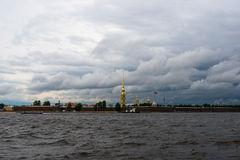 Petropavlovskaya fortress. In the background of a gloomy rainy sky Royalty Free Stock Images