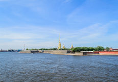 Petropavlovskaya fortress on hare island in St. Petersburg. Petropavlovskaya fortress is one of the most important historical sights of St. Petersburg Royalty Free Stock Photos