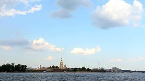 Petropavlovskaya fortress, St. Petersburg. Walk to St. Petersburg by boat, shooting from the water in motion, bridges stock video footage