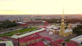 Petropavlovskaya krepost της Άγιος-Πετρούπολης Κεραία Quadrocopter απόθεμα βίντεο