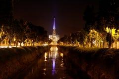 大教堂晚上petropolis 库存照片