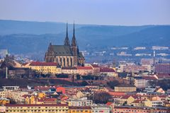 Petrov. Cathedral of Saints Peter and Paul in Brno Czech Republic. Night photo of beautiful old architecture at sunset. Stock Photo