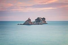 Petrovac island with church Royalty Free Stock Photo