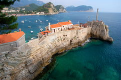 Gorgeous picturesque cliff in Petrovac in Monteneg Royalty Free Stock Image