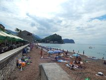 PETROVAC, MONTENEGRO - SEPTEMBER 7, 2014. People on streets royalty free stock image