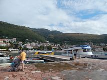 PETROVAC, MONTENEGRO - SEPTEMBER 7, 2014. People on streets stock photo