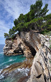 Petrovac rock coast Stock Photos