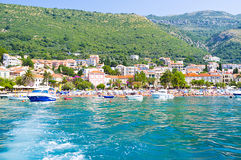 Petrovac from the sea Stock Photos