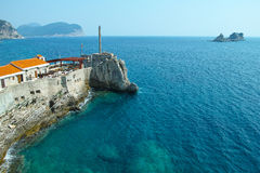 Petrovac town Mediterranean coast in Montenegro Stock Photo