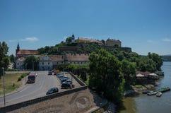 Petrovaradin forteca nad Danube rzeką novi smutny Serbia Obrazy Stock