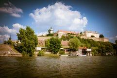 Petrovaradin fortess. View on Petrovaradin fortress over Danube river, Novi Sad, Serbia stock photography