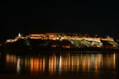 Petrovaradin fortress. This is a Petrovaradin fortress on river Danube, by night, view from Novi Sad, this is a place of Exit festival in Serbia Royalty Free Stock Photo