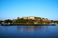 Petrovaradin fortress. River and a boat Stock Photos