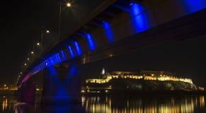 Petrovaradin Fortress. As seen below the Rainbow Bridge at night. Novi Sad, Serbia Stock Image
