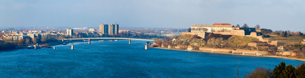 Petrovaradin fortress on blue Danube Stock Image