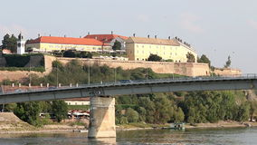Petrovaradin fortress on Danube river Novi Sad stock footage